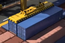 Suspicious Looking Shipping Containers being loaded onto a ship.