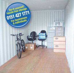 Inside a standard shipping container